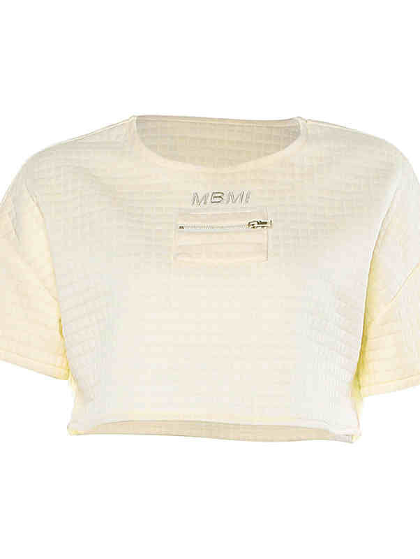 Solid Color Round Neck Stitching Crop Top