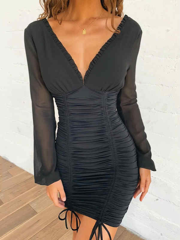 V-neck Ruffle High Waist Mesh Mini Dress