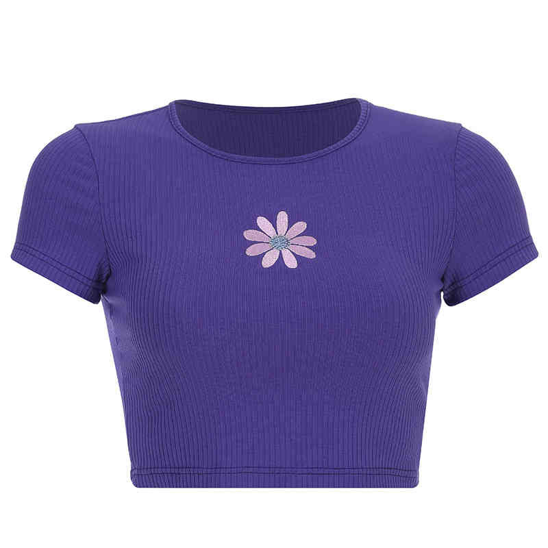 Round Neck Floral Embroidery Crop Top