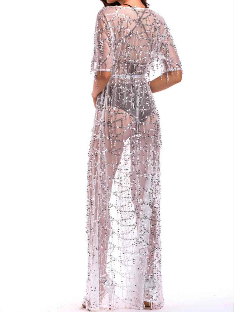 Sequin See Through Tie Waist Maxi Dress