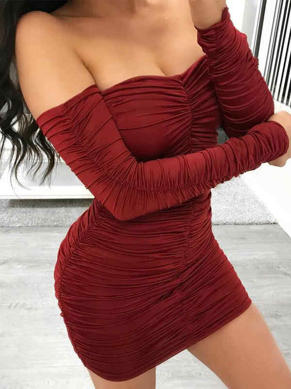 Off Shoulder Mesh Ruffle Mini Dress