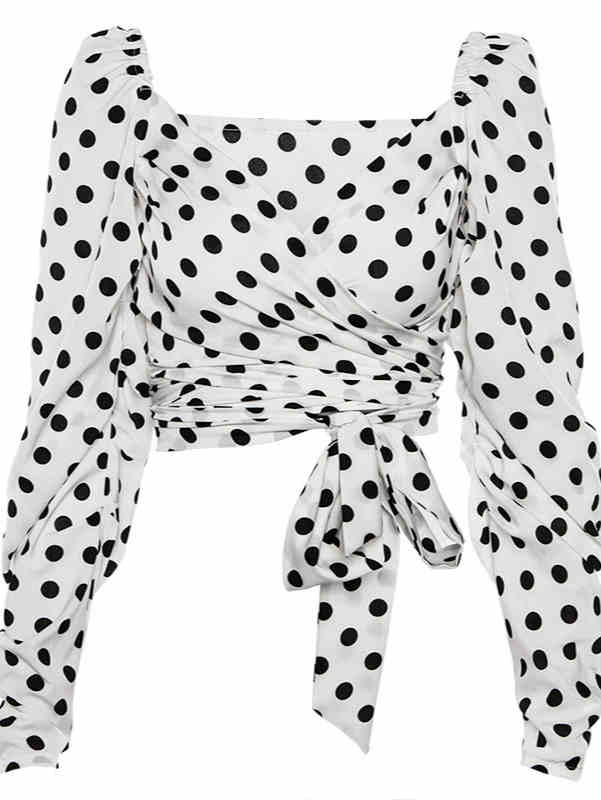 V-neck Polka Dot Print Tied Waist Crop Top