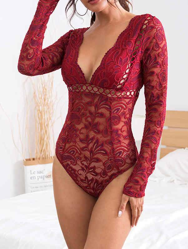 Lace Hollow Sheer Deep V Bodysuit
