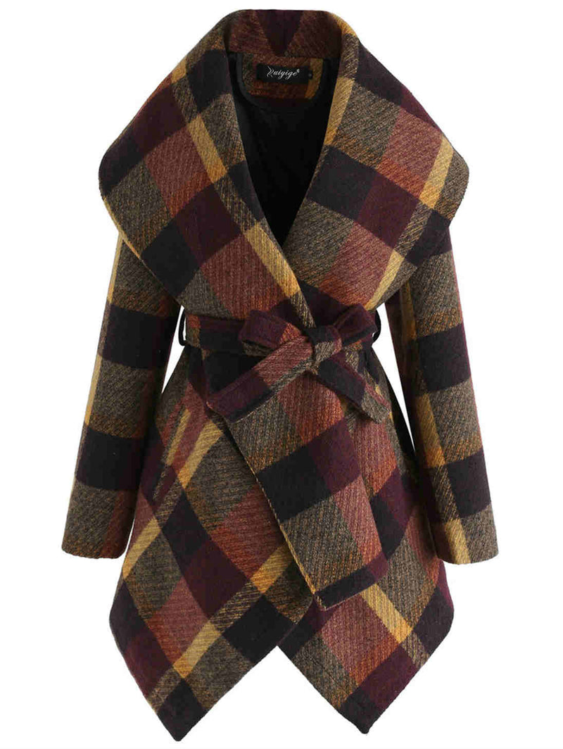 Long Sleeve Crossed Neck Plaid Tie Waist Woolen Overcoat