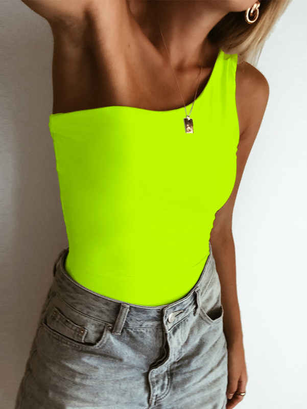 One Shoulder High Waist Bodysuit