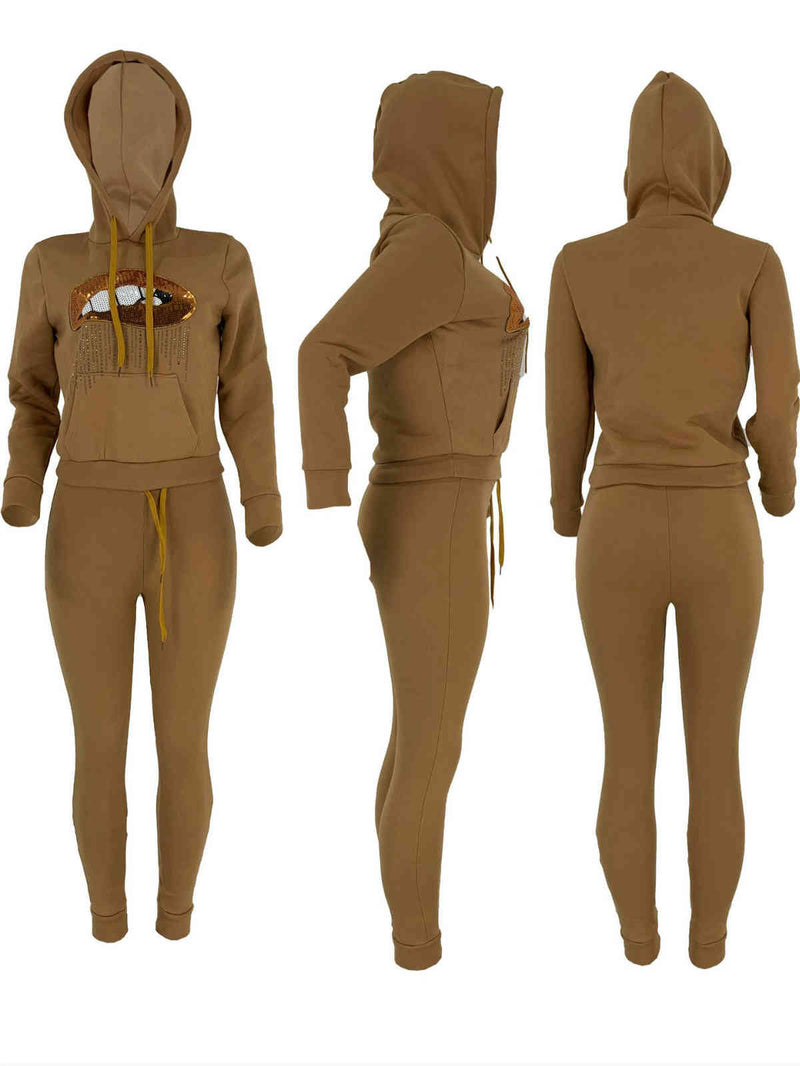 Fall and Winter Lips Sticking Drill Hoodies Sportswear Two Set