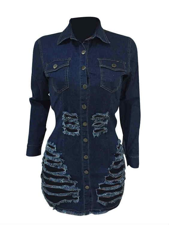 Long Sleeve Button Slide Hole Stylish Denim Mini Dress