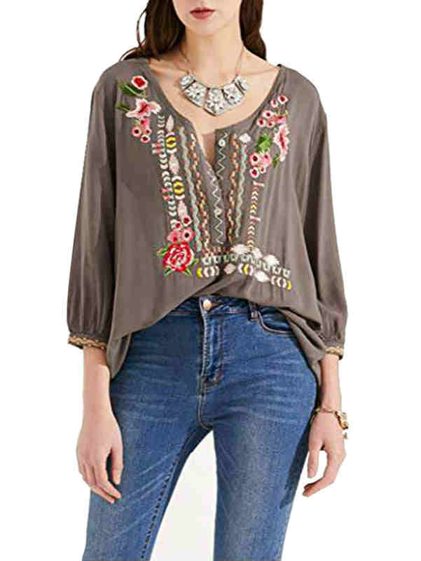 V-neck Embroidery Loose Fall Blouse T-shirt