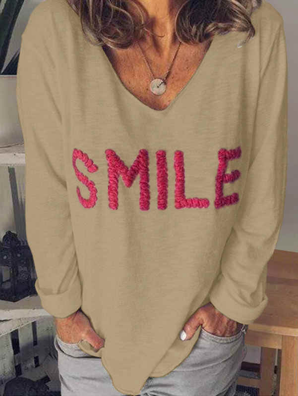 Letter Embroidered Casual Long Sleeve T-Shirt