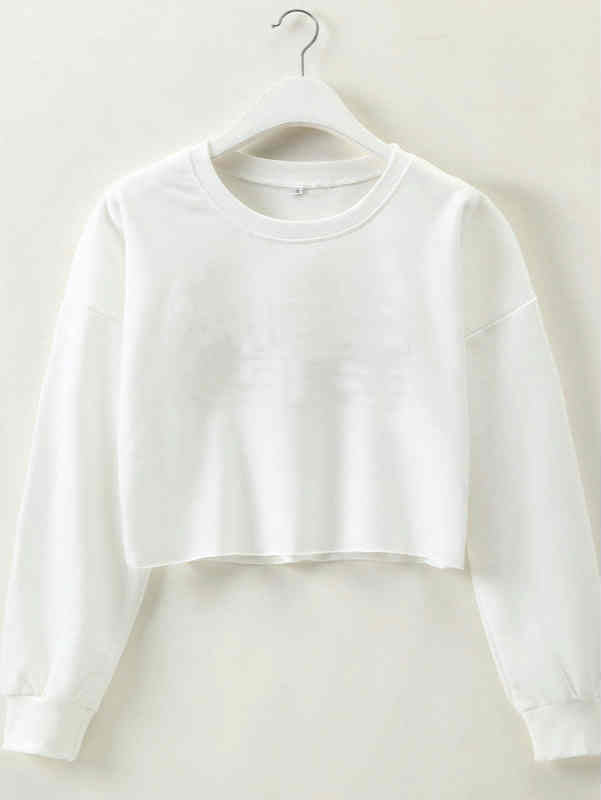 Solid Loose Style T-shirt Crop Top