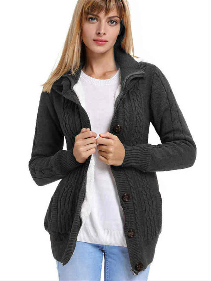 Knit Sweater Hoodie Coat