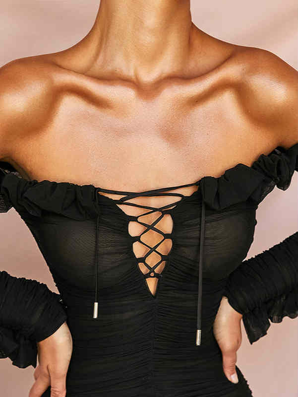 V-neck Off Shoulder Ruffle Mesh See Through Mini Dress