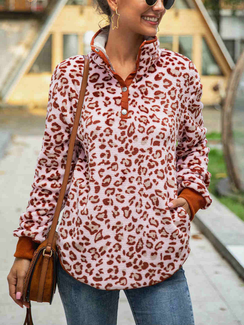 Stand Button Collar Leopard Print Faux Fur Hoodies Coat