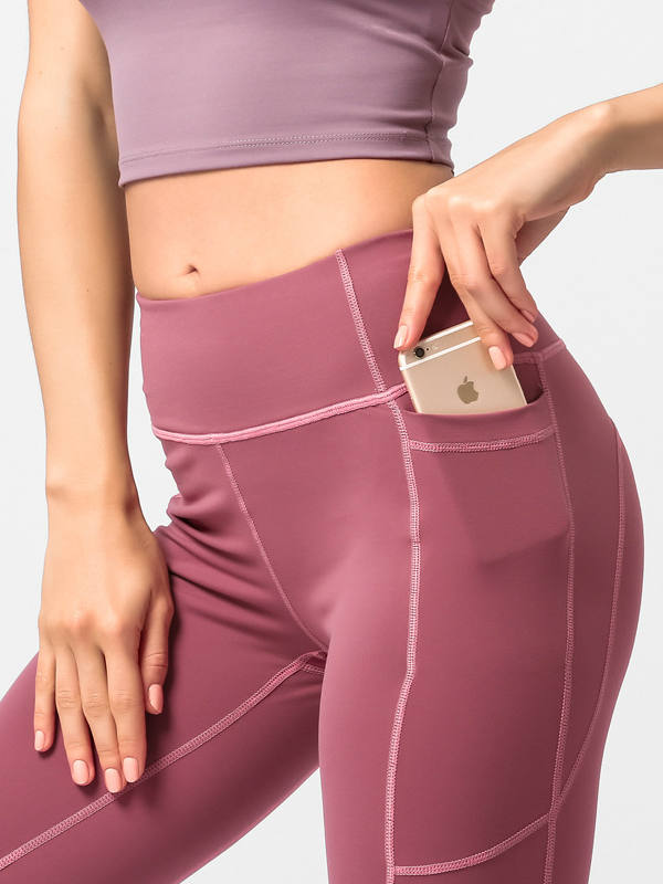 Exercise yoga high waist pocket pants