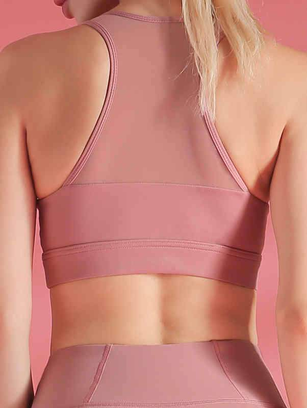 Gathered Mesh Breathable Sports Bra
