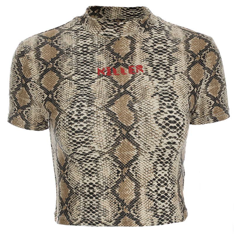 Snake Printed Crop Top