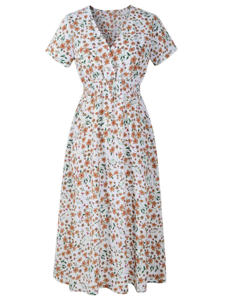 V-neck Floral Print Sherbet Beach Holiday Midi Dress