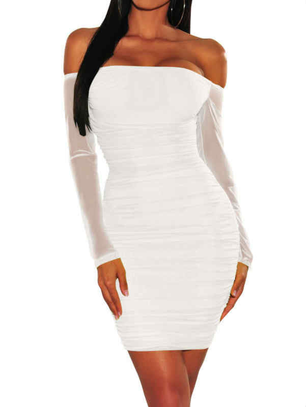 Off Shoulder Zipper Back Mesh Mini Dress