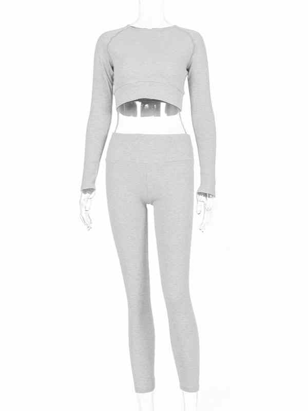 Round Neck Crop Top & Pencil Leggings Sportswear Two Set