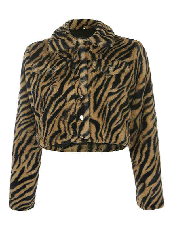 Short Fall and Winter Tiger Print Faux Fur Coat