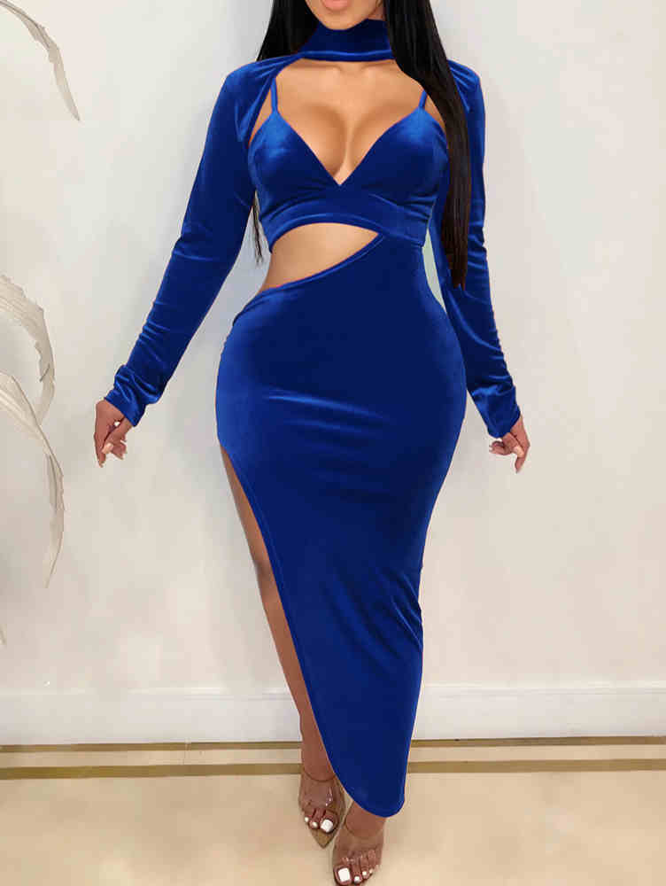 Deep V-neck Bra Top Back Zipper High Side Slit Velvet Maxi Dress