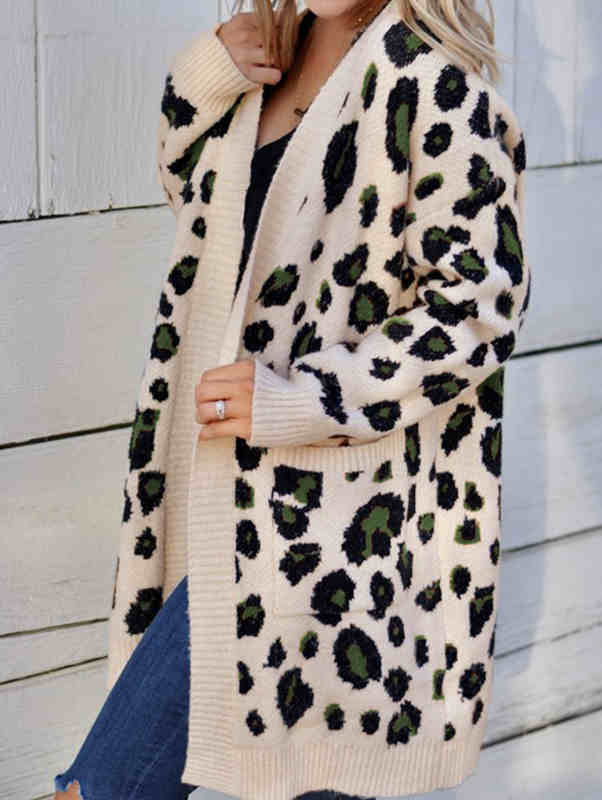 Fall and Spring Leopard Print Sweater Cardigan Coat