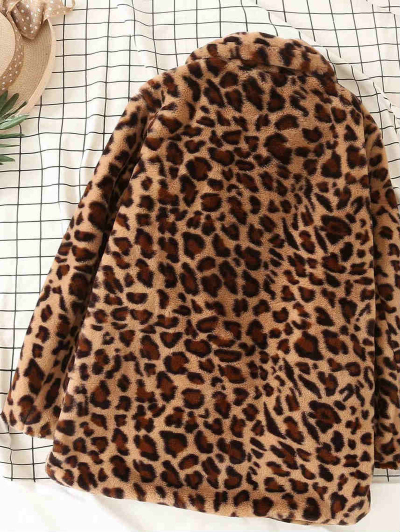 Leopard Print Thickening Long Faux Fur Coat
