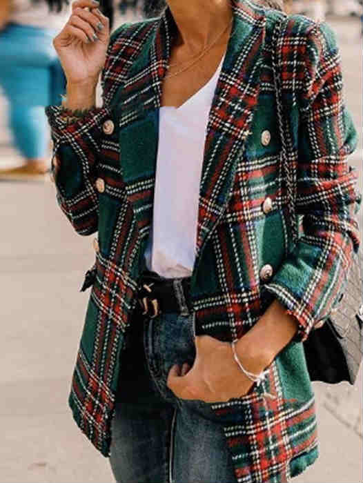 Fall and Winter Plaid Suit Jacket