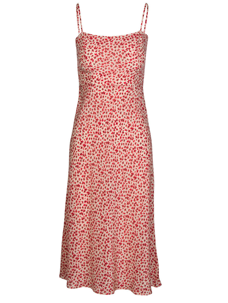 Red Star Print Strap Dress