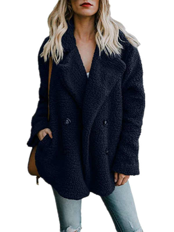 V-neck Stand Collar Loose Faux Fur Coat