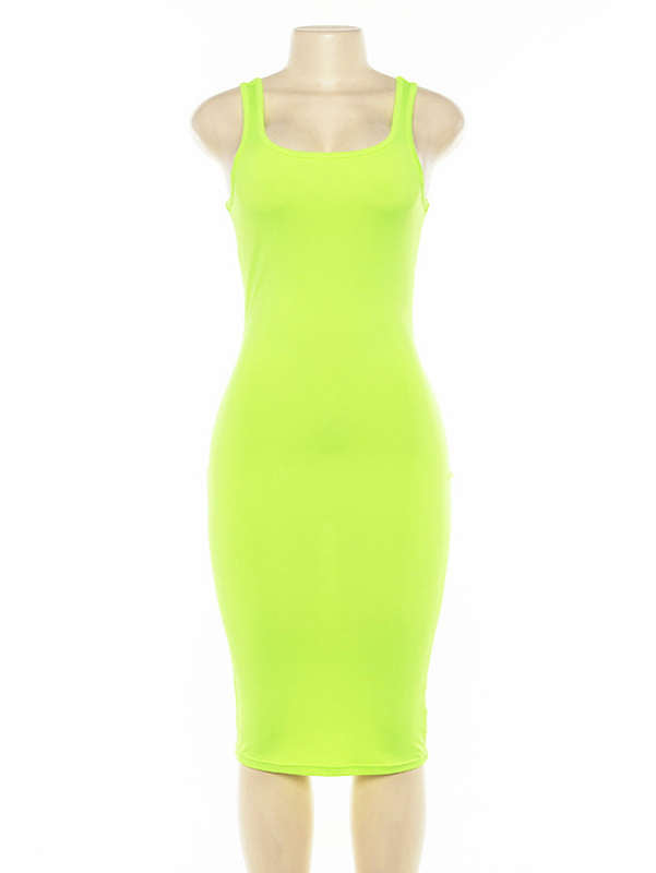 Round Neck High Waist Go Out Maxi Dress