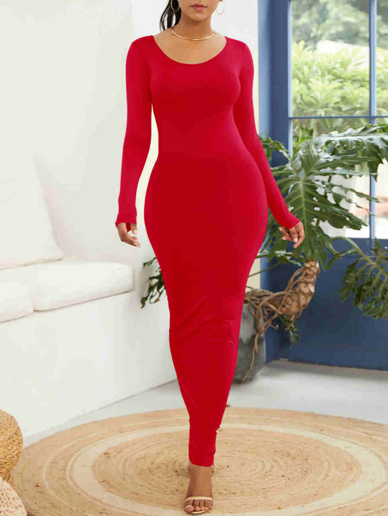 Long Sleeve Round Neck Maxi Dress
