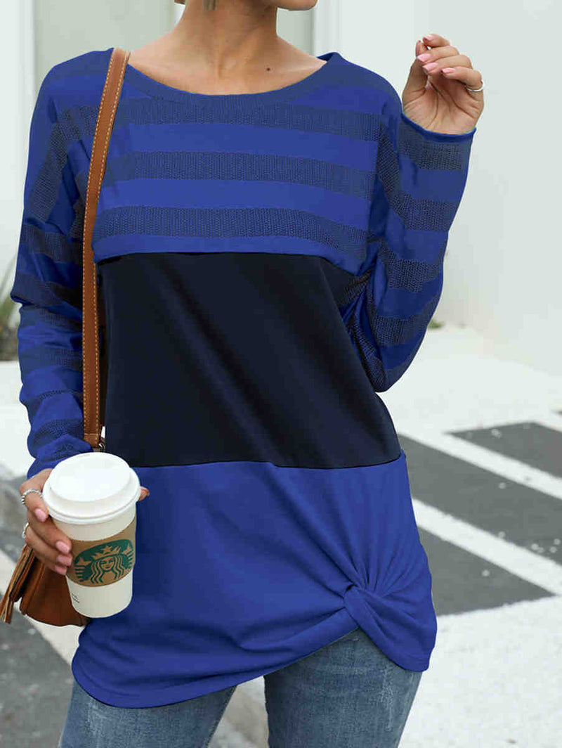 Stitching Knotted Round Neck Long Sleeve Shirt