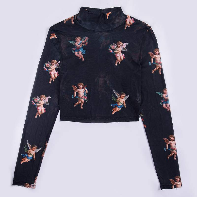 Mock-neck Angel Patterned Crop Top