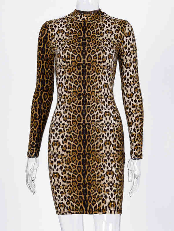 Long Sleeve Leopard Print Stand Collar Dress