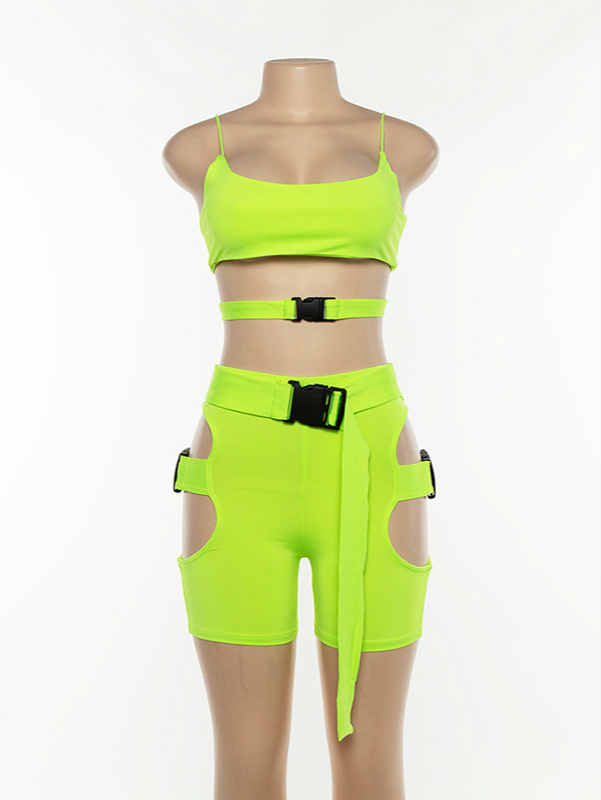Spaghetti Straps Tank Top with Belt & Short Pants Set