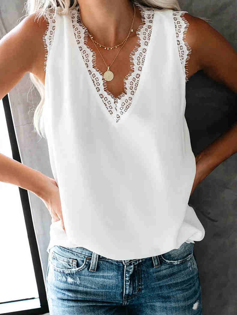 V-Neck Lace Sleeveless Top
