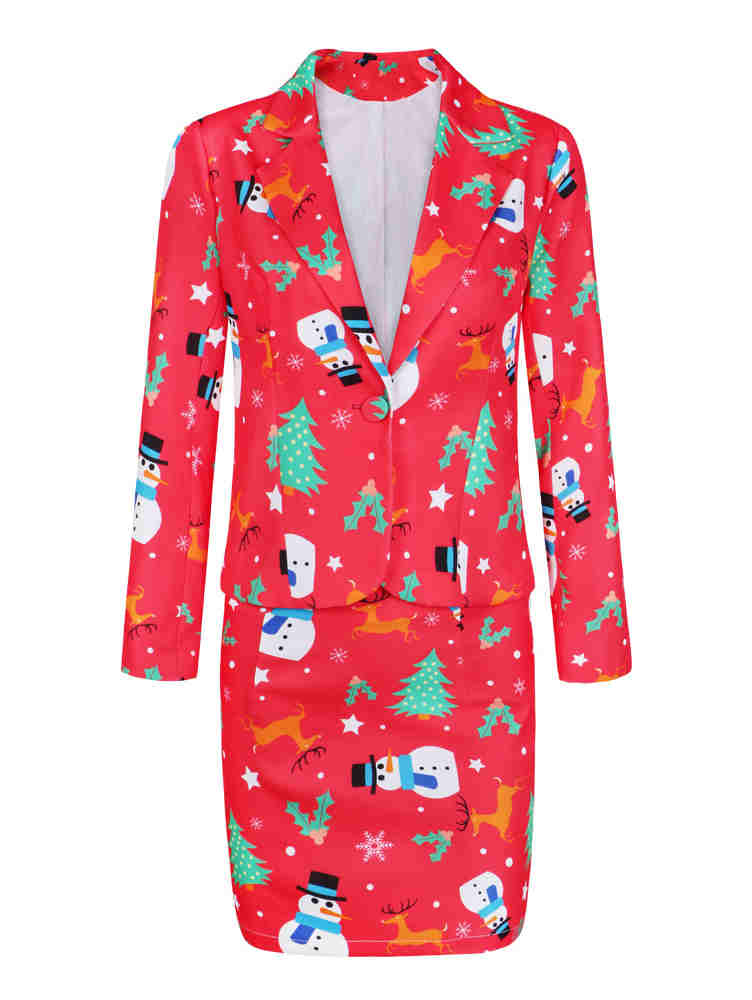 Fall and Winter Merry Christmas Tree and Snow Print Coat & Skirt Suit