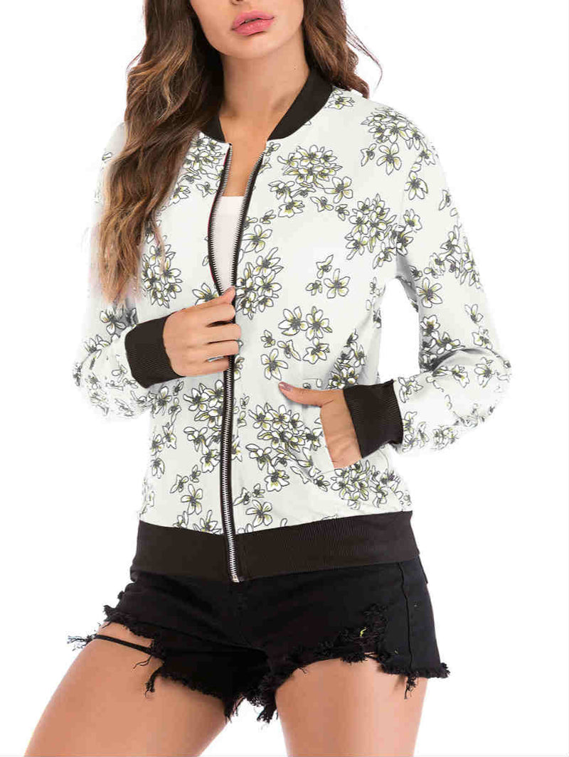 Zipper Floral and Crane Print Baseball Jacket
