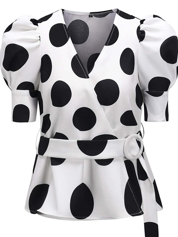 Puff Sleeve Dot Blouse