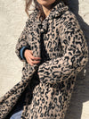 Leopard Notch Collar Faux Fur Teddy Coat