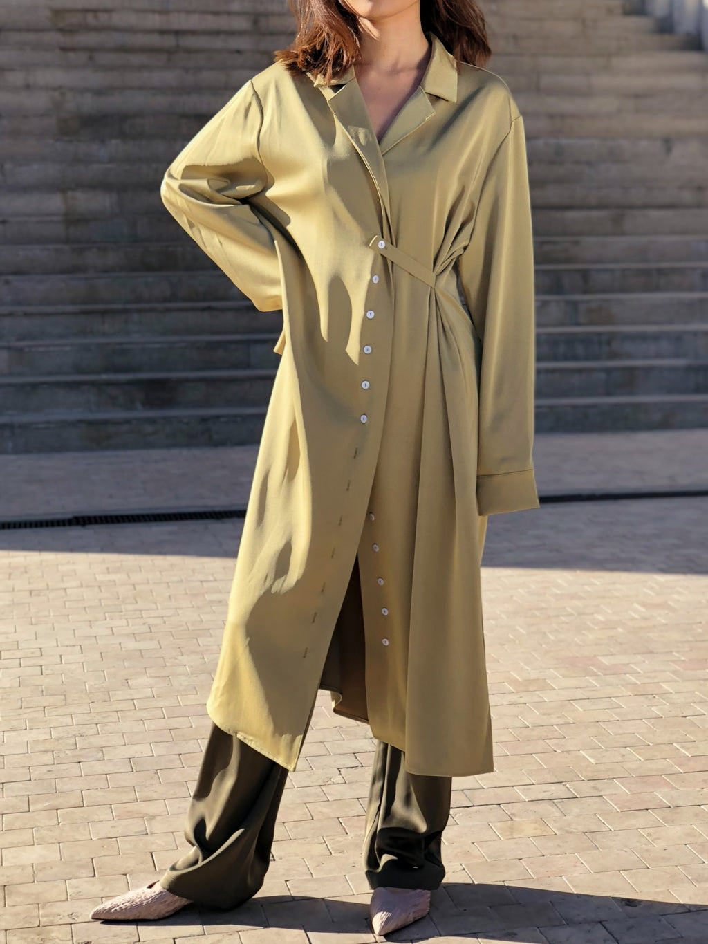 Olive Green Lapel Collar Midi Coat