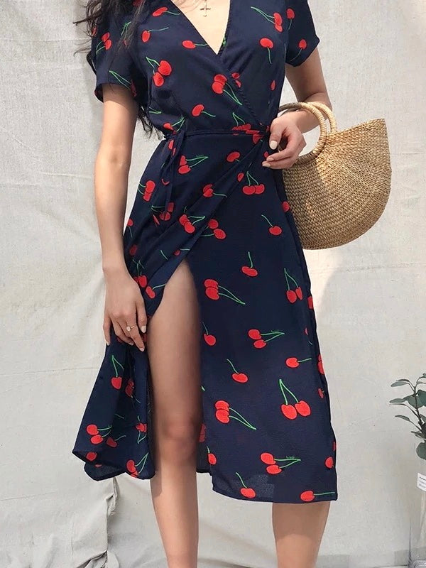 V-neck Cherry Print Wrap Dress