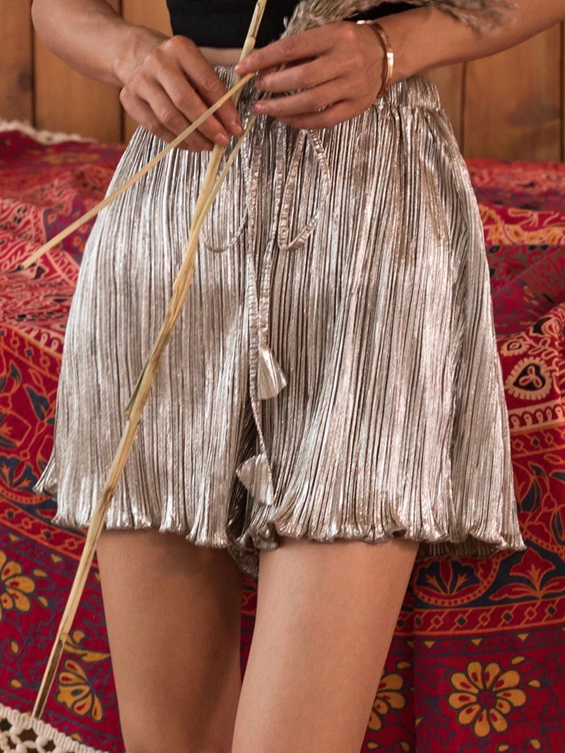 Metallic Silver Pleated Holiday Skirts
