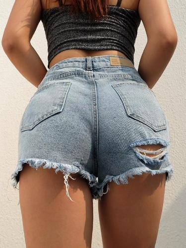 High Waisted Distressed Denim Jeans Shorts