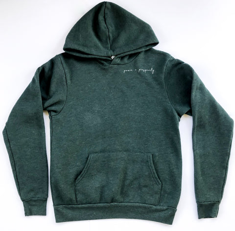 Peace Hoodie- Forest Green