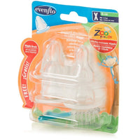 Evenflo Zoo Friends 4 Count Silicone Anatomic Nipple with Brush, X-Cut