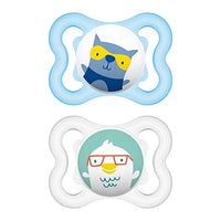 MAM Sensitive Skin Pacifiers, Baby Pacifier 0-6 Months, Best Pacifier for Breastfed Babies, Mini Air Design Collection, Boy, 2-Count