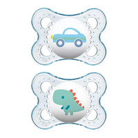 MAM Pacifiers 0-6 Months,  'Clear' Design Collection, Boy, 2-Count