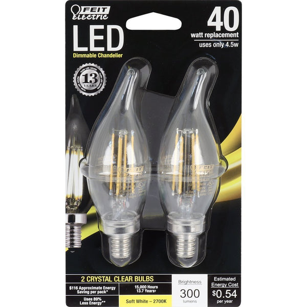 Feit Electric BPCFC40/827/LED/2 40W Equivalent Clear Dimmable Chandelier Flame Tip Candelabra Base LED Light Bulb (2 Pack), Soft White
